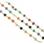 Beaded Chain, Mixed Gemstones, Gold Plated, CBCYMIX