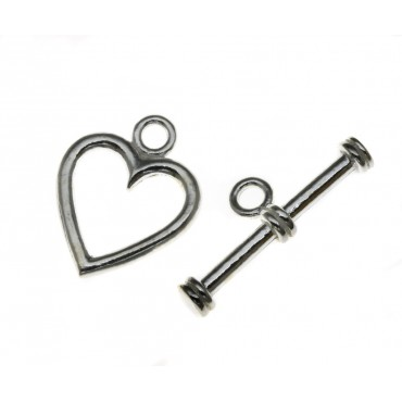 Sterling Silver Heart Tbar & Ring Set, SLTBSWH63